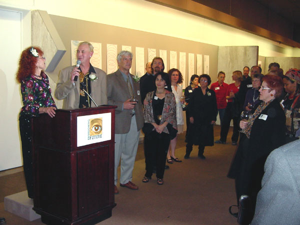 Photo: The opening of the Envisioning the Future multi-site exhibition in Pomona and Claremont, California, on January 9, 2004.