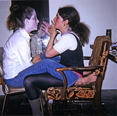 Nancy Youdelman with ShawneeWollenman at the Fresno studio, 1970. Fresno studio, 1970. Nancy puts make-up on Shawnee for an artwork she was crea