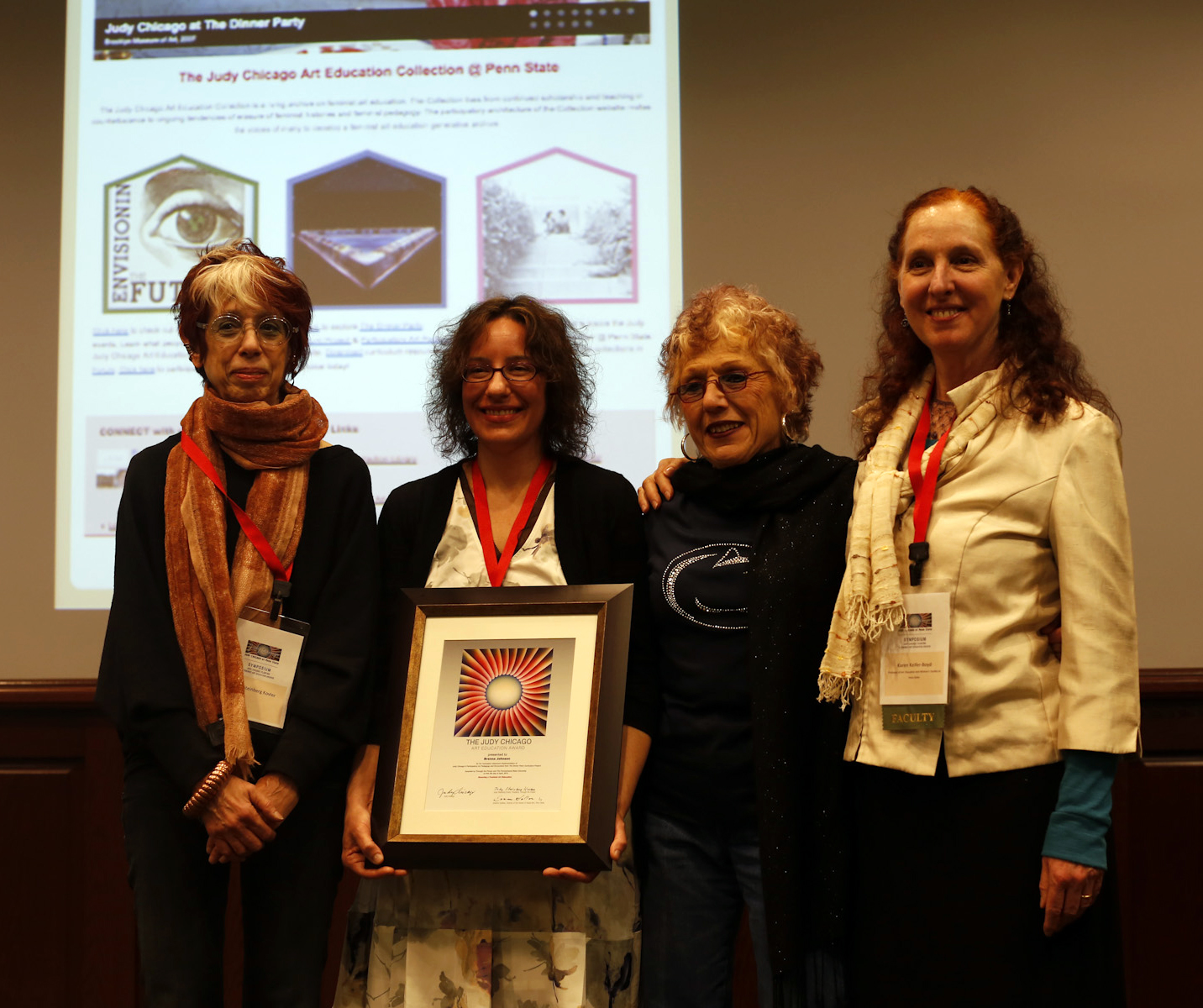The award ceremony was part of the Judy Chicago Symposium held at Penn State on April 5, 2014. In photo:Judy Kovler, Brenna Johnson, Judy Chicago, Karen Keifer-Boyd