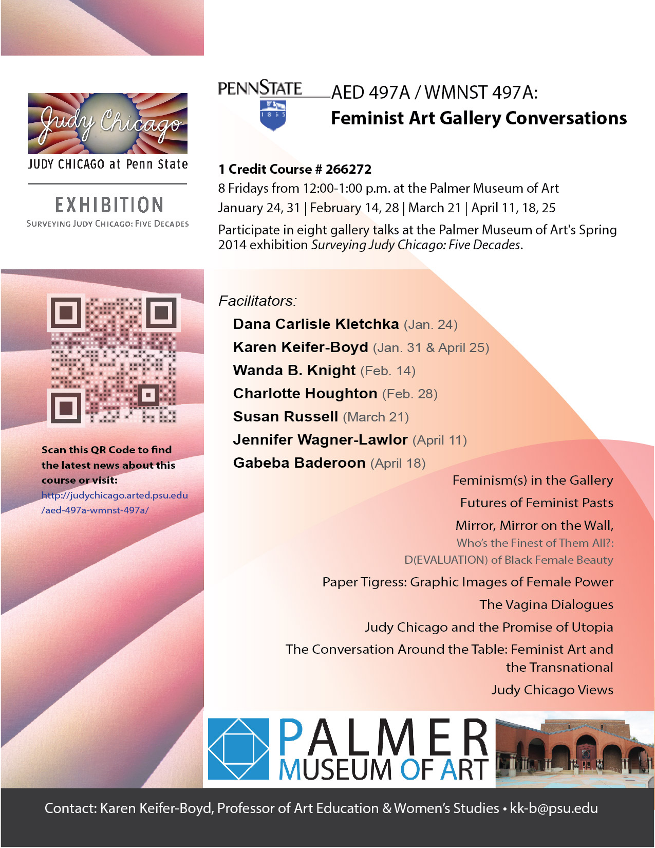AED 497A/ WMNST 497A: Feminist Art Gallery Conversations Flyer